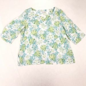 J JILL Love Linen XL Coral Turtle Print Top Blue